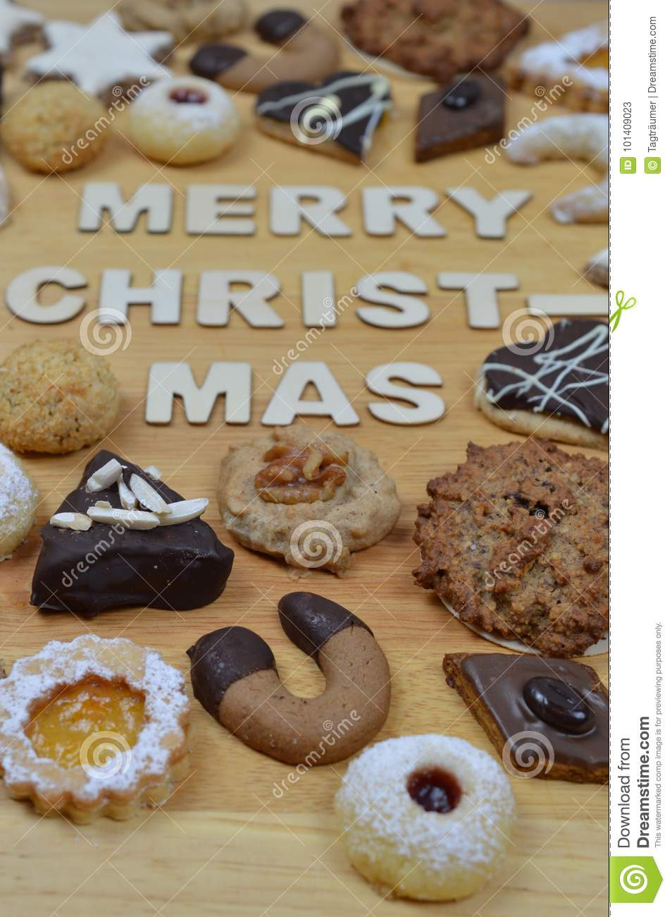 Christmas Cookies And Merry Christmas Stock Image Image Of