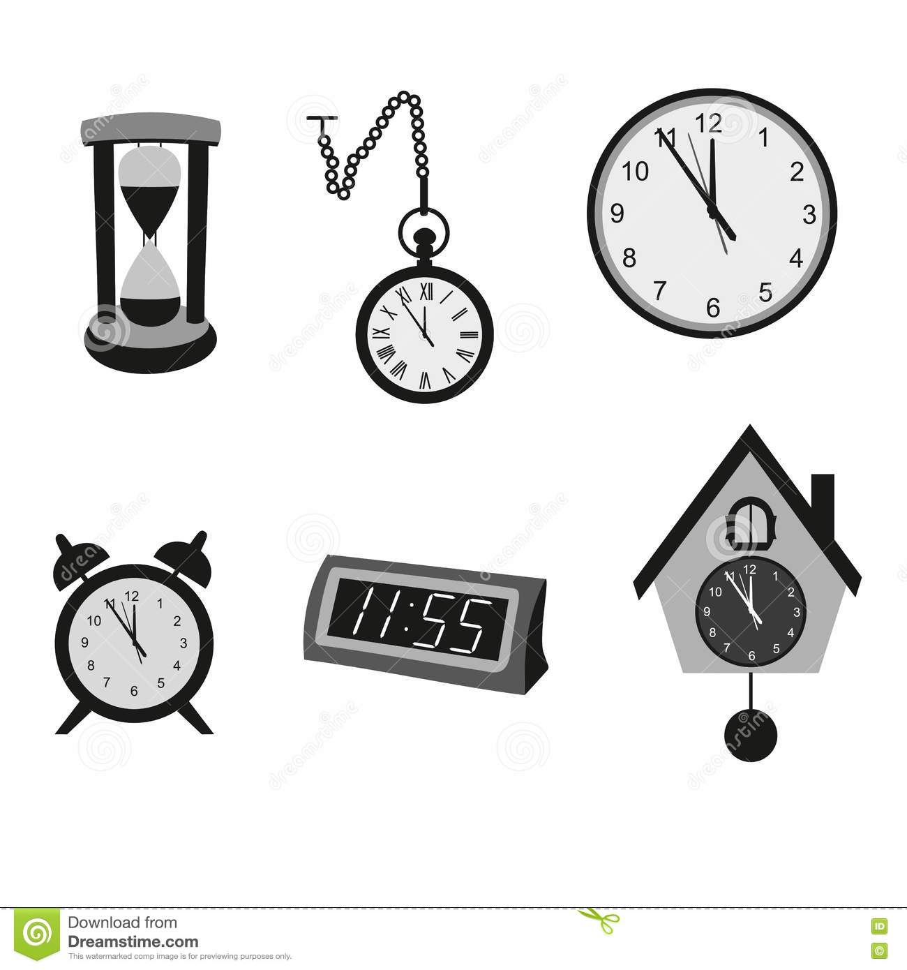 Different Kinds Of Clocks Stock Vector Illustration Of