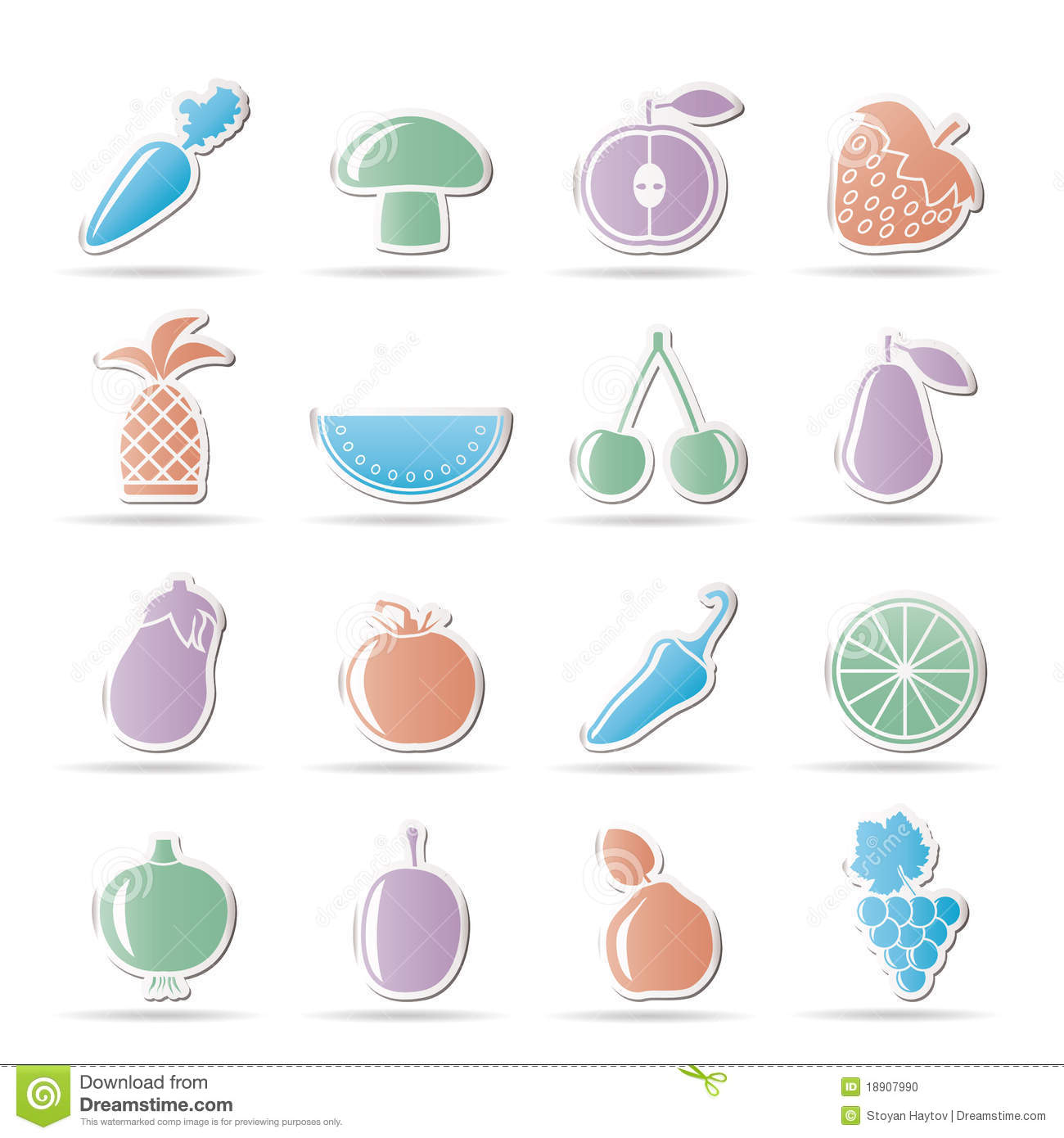 Different kinds of fruits and vegetable icons stock photo image