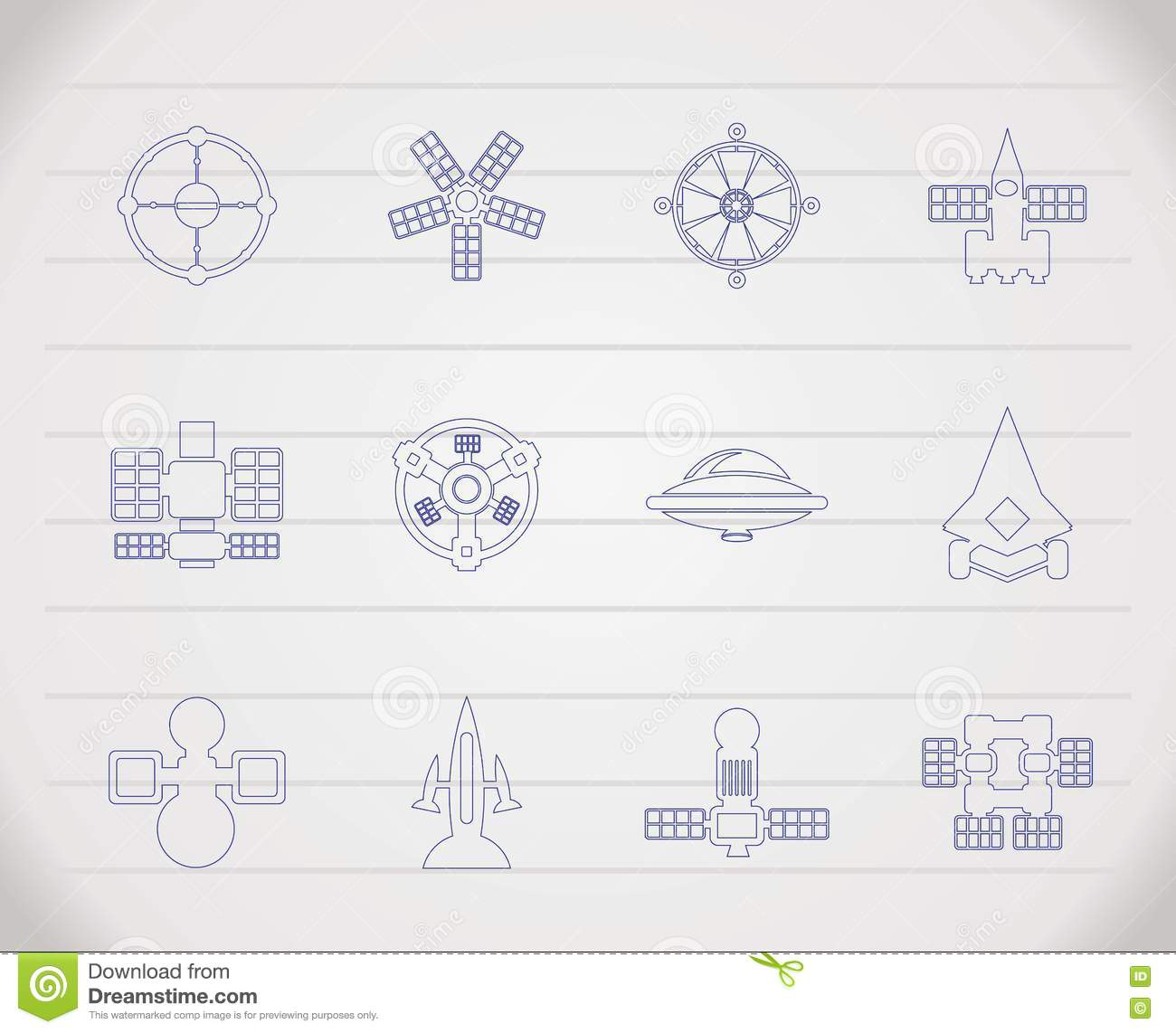 Different Kinds Of Future Spacecraft Icons Stock Images ...