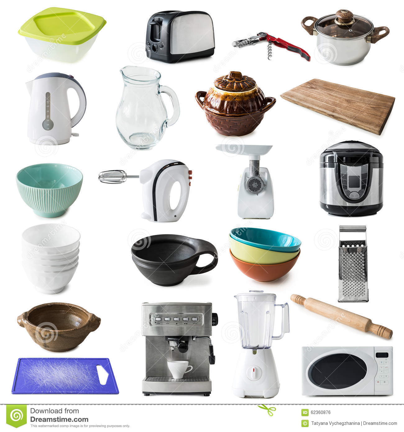 Different Kinds Of Kitchen Appliances And Ware Stock Photo - Image ...