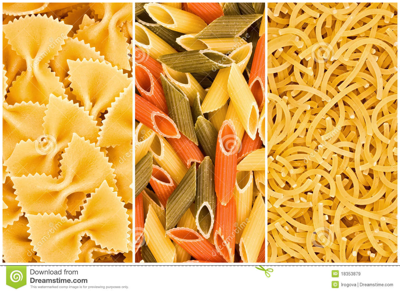 Different Kinds Of Pasta Royalty Free Stock Images - Image: 18353879
