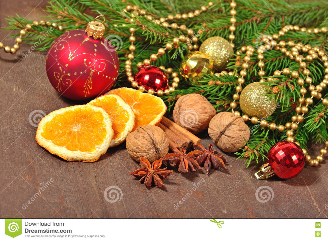 Different Kinds Of Spices Nuts And Dried Oranges Christmas Dec