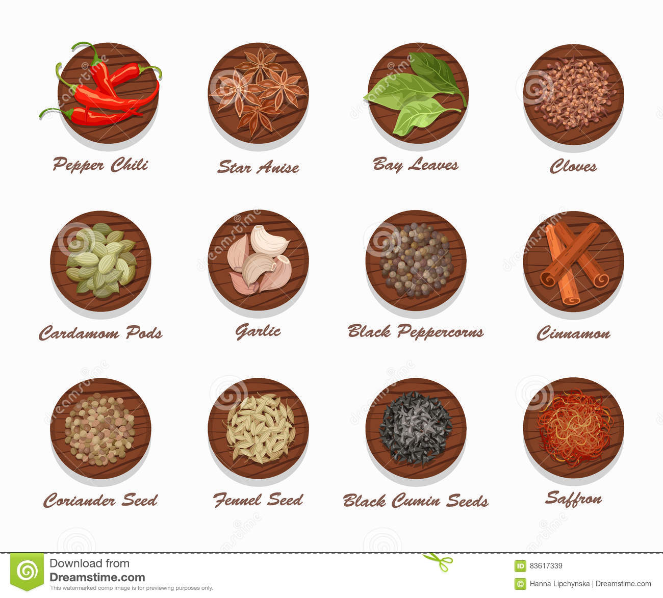 Different kinds of spices on wooden board realistic for Especies para cocinar