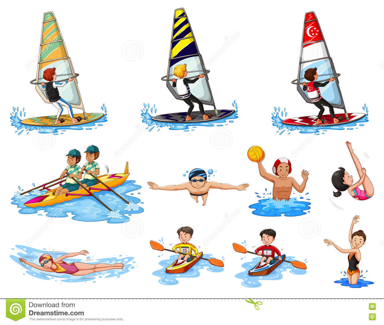 Different Kinds Of Water Sports Stock Vector