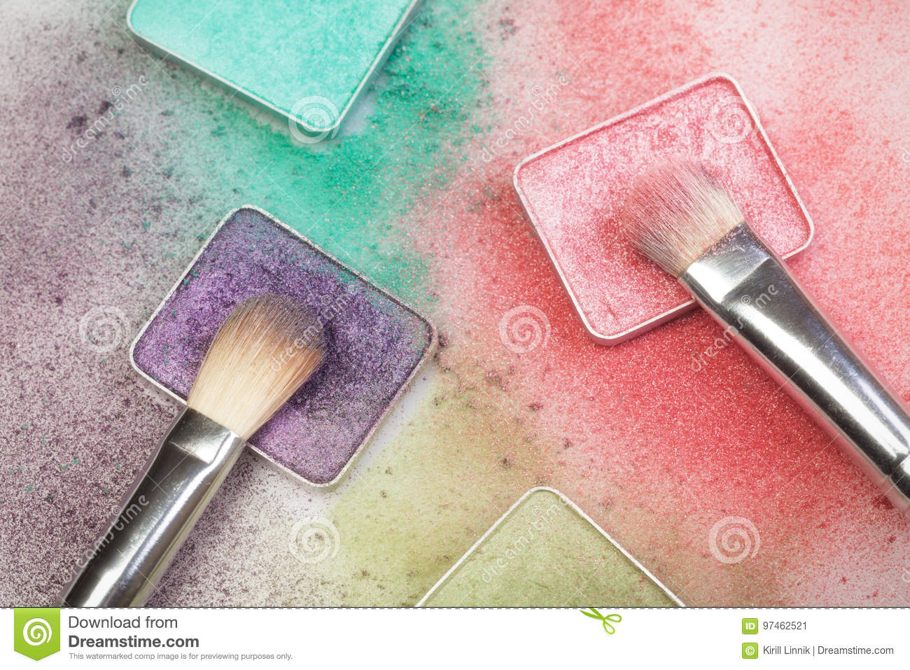 Download Different Make-up Palettes And Brashes Stock Image - Image of powder, grit: 97462521