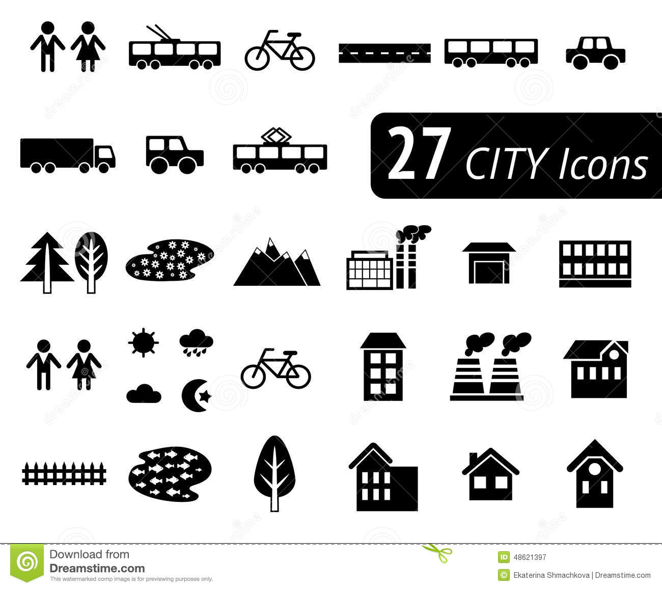 Web Site Map: Different Monochromatic Flat City Elements For Creating Your Own Map. Vector Infographic Stock