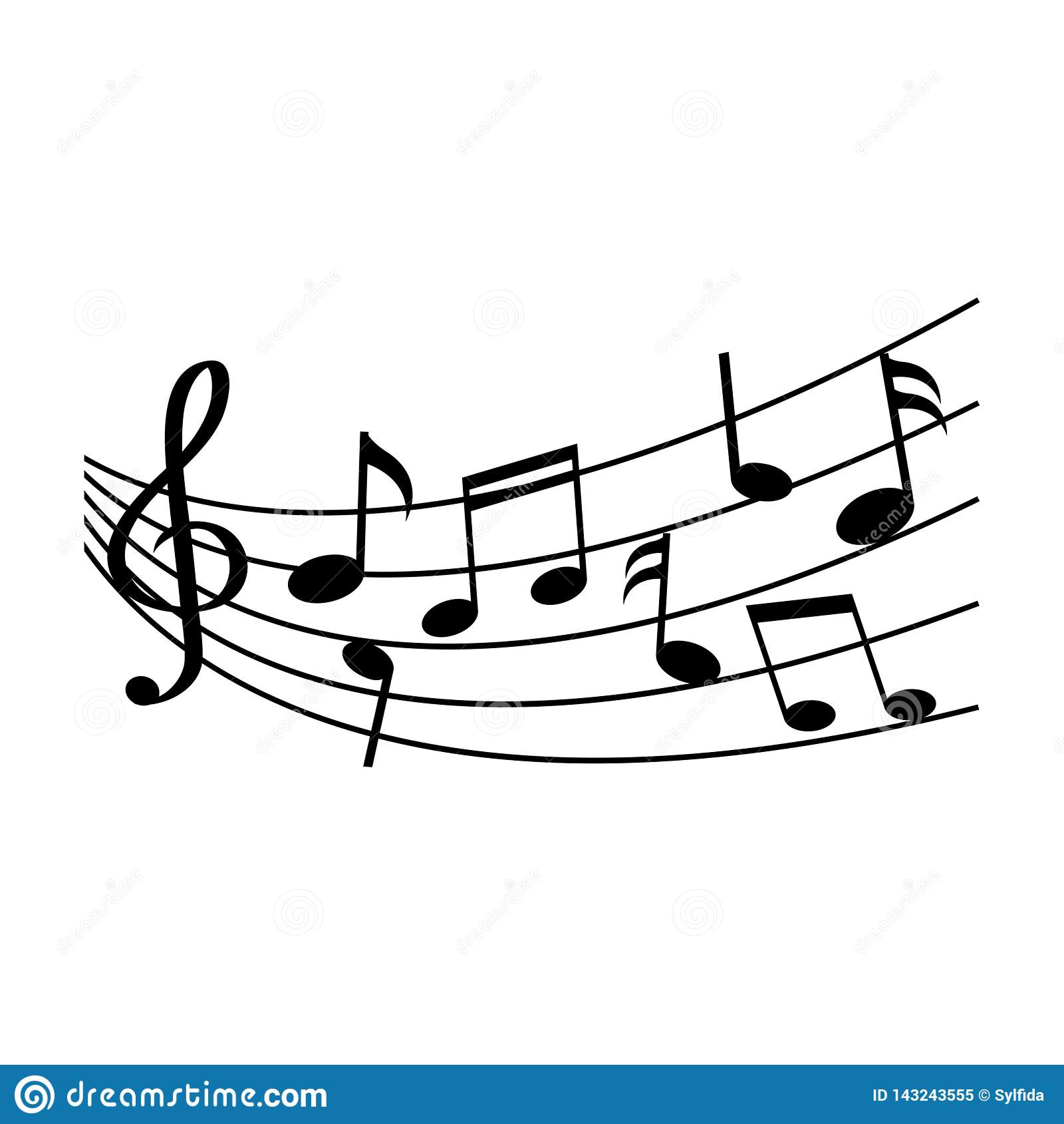 Different music notes. Vector illustration