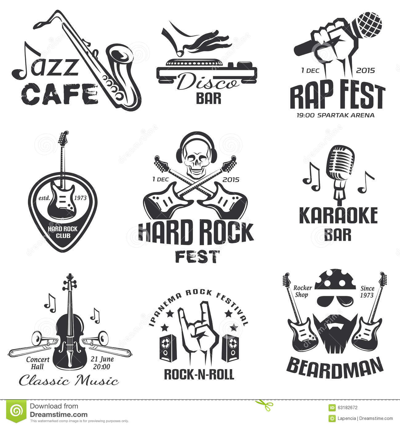 Different Music Styles Retro Emblems Stock Vector Image 63182672