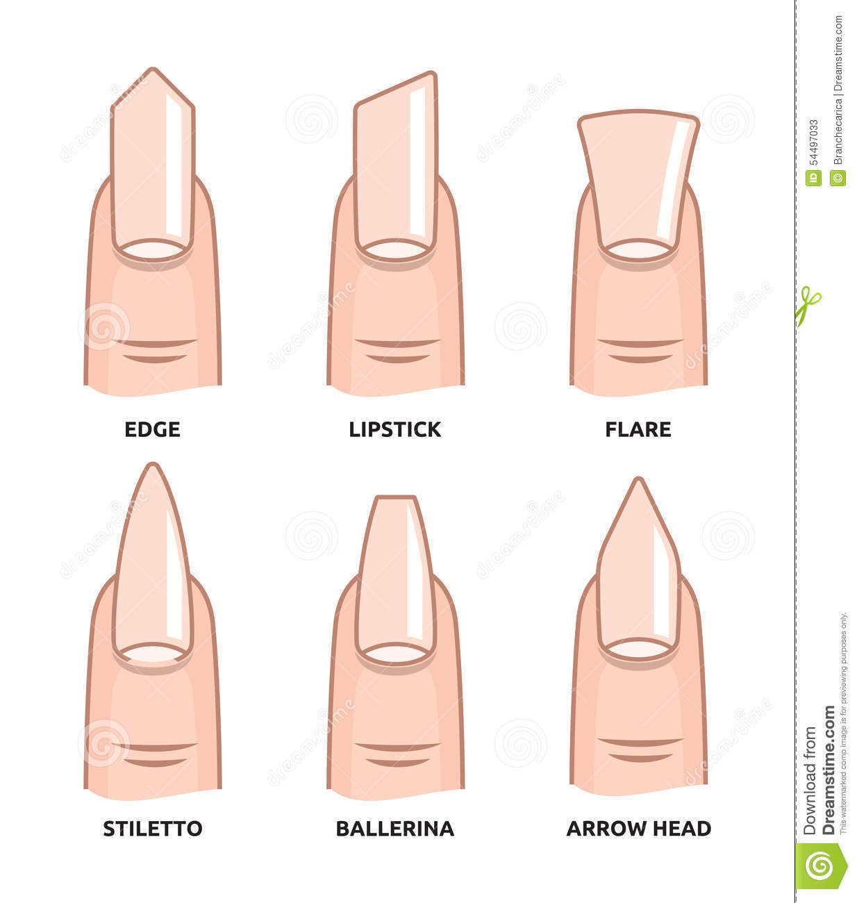 different nail shapes fingernails fashion trends stock