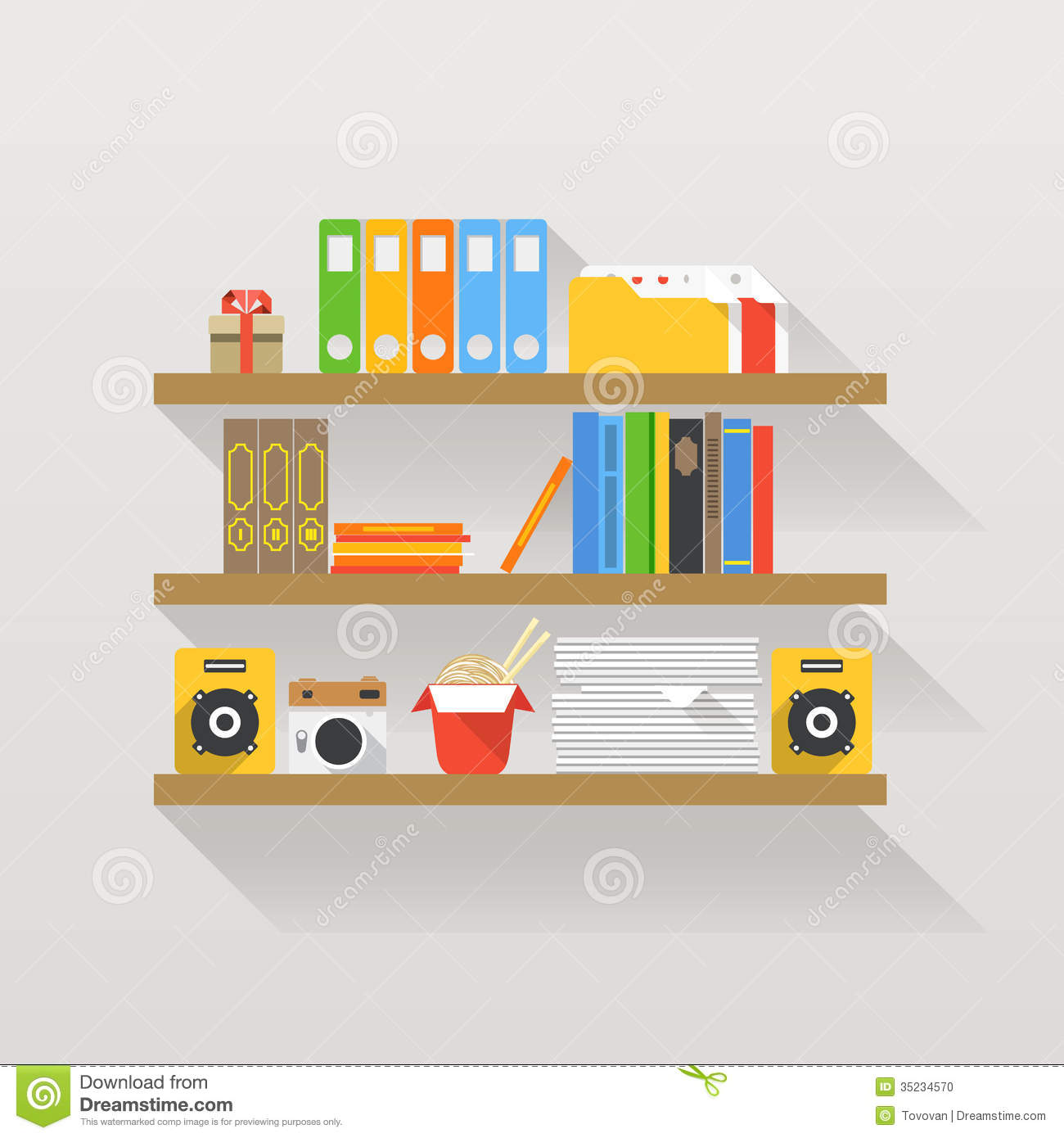 Different Objects On Book Shelves Stock Photo Image