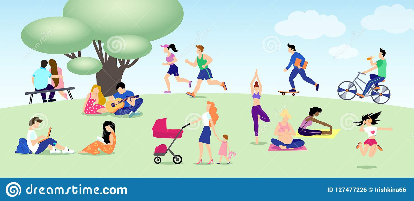 Different people relax in park, run, ride bike, skateboard, lovers. Mom, Pregnant yoga, girl with book, guy with laptop