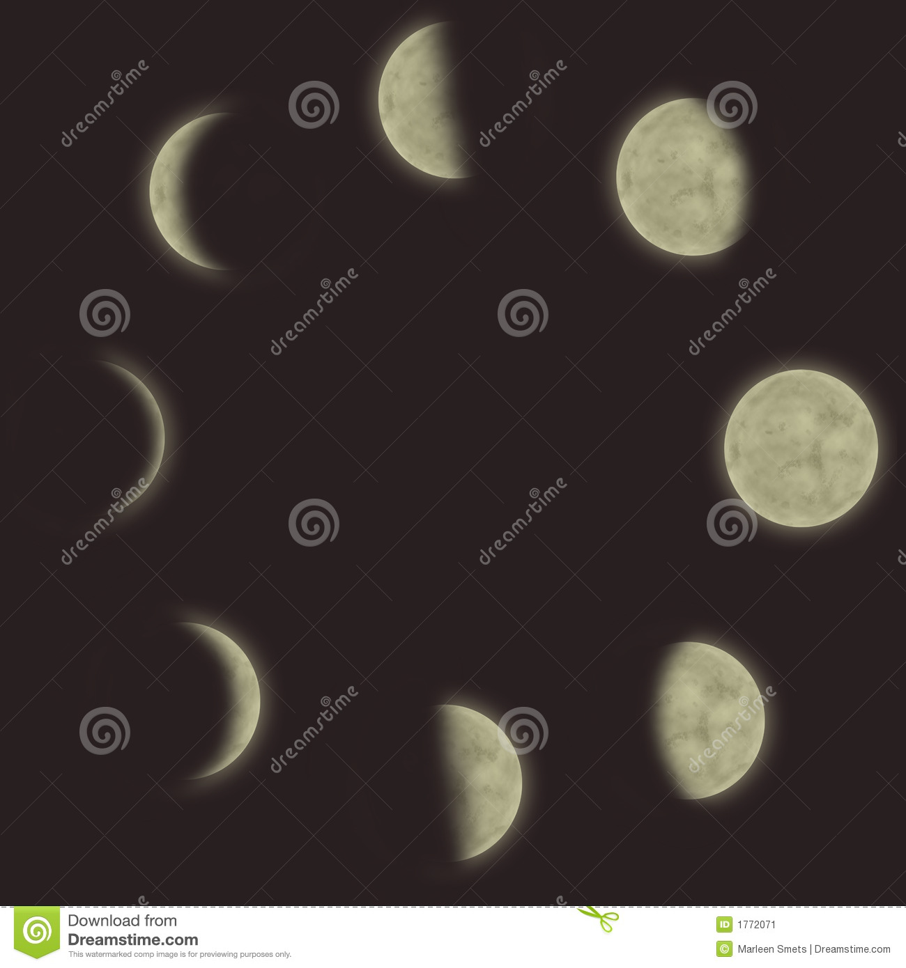 Calendar Vector : Different phases of the moon stock illustration