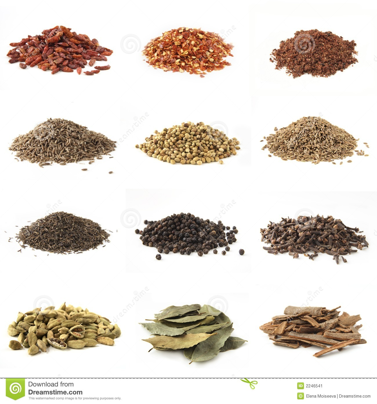 different pile spices isolated