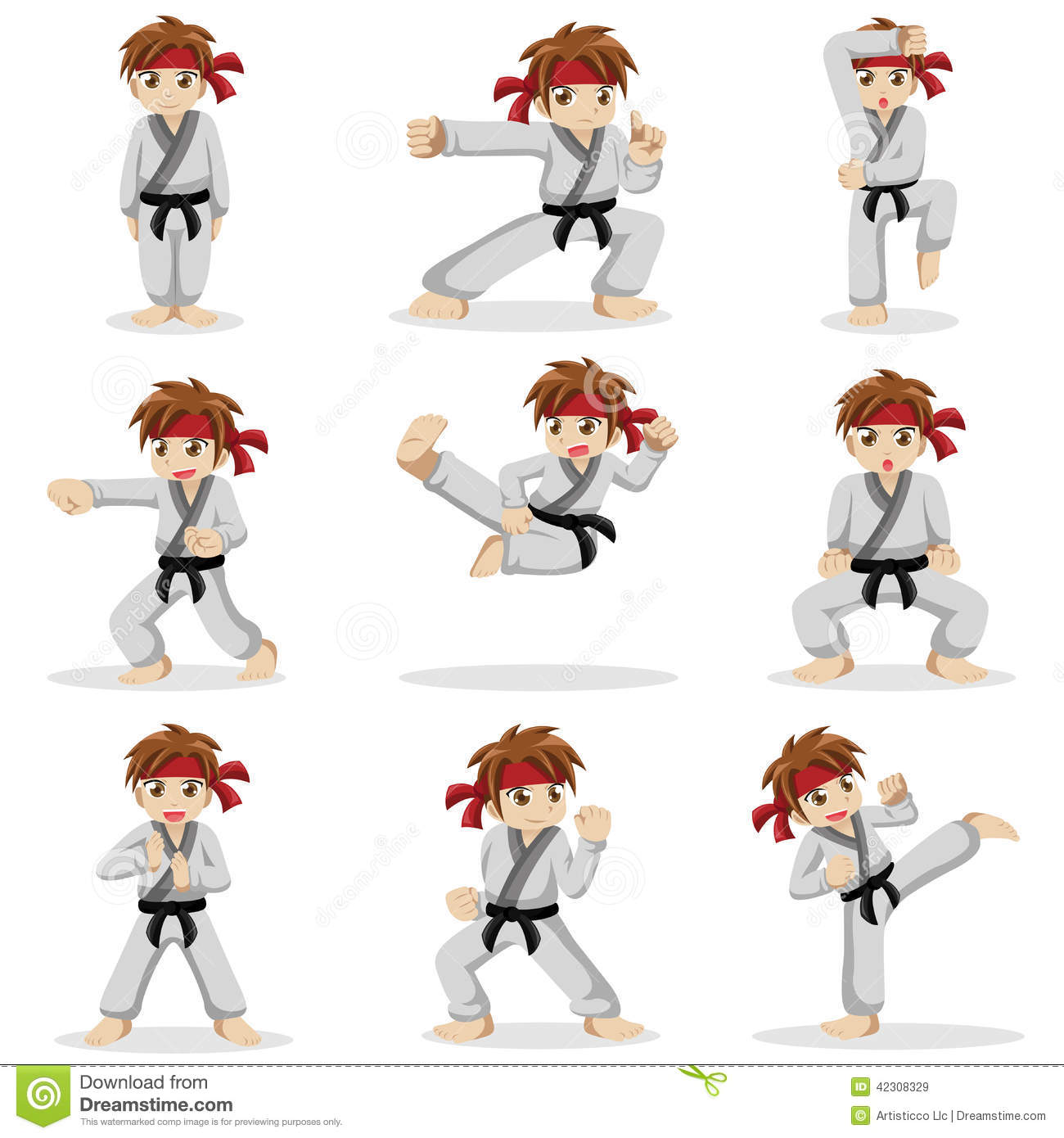 Different Poses Of Karate Kid Stock Vector - Image: 42308329