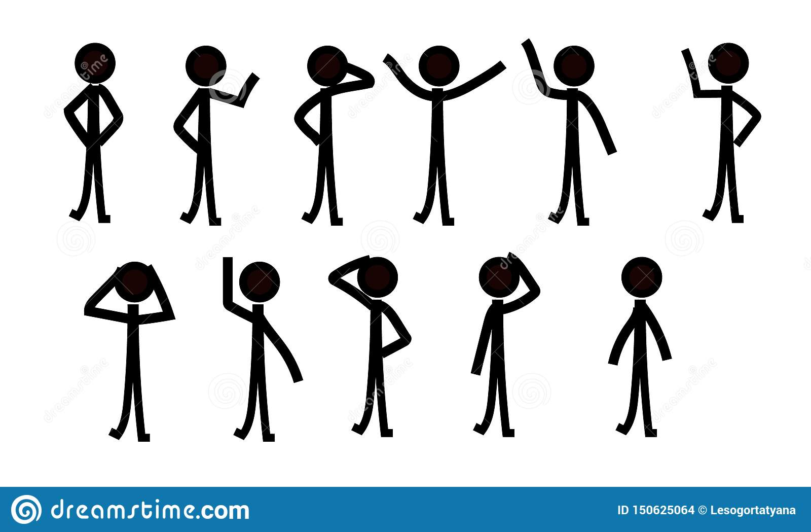 Sticks figure people pictograph, different poses
