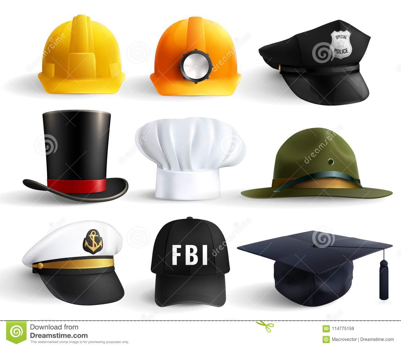 992aa58a29334 Different professions hats set with magistr hat miner helmet cylinder chef  fbi and police head uniform isolated vector illustration