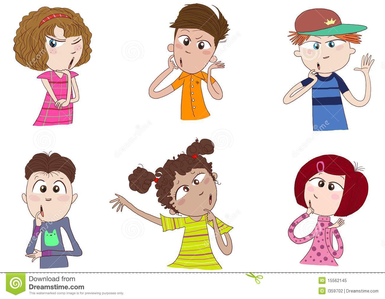 Different Races Of Kids Thinking Royalty Free Stock Photo ...