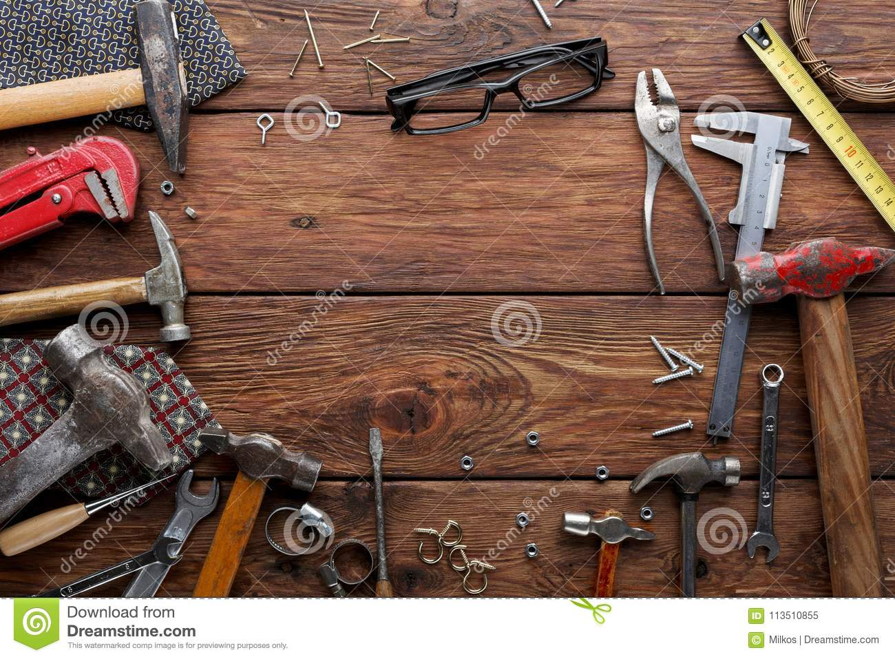 Frame Of Repair Tools On Wood Background With Copy Space Stock Image