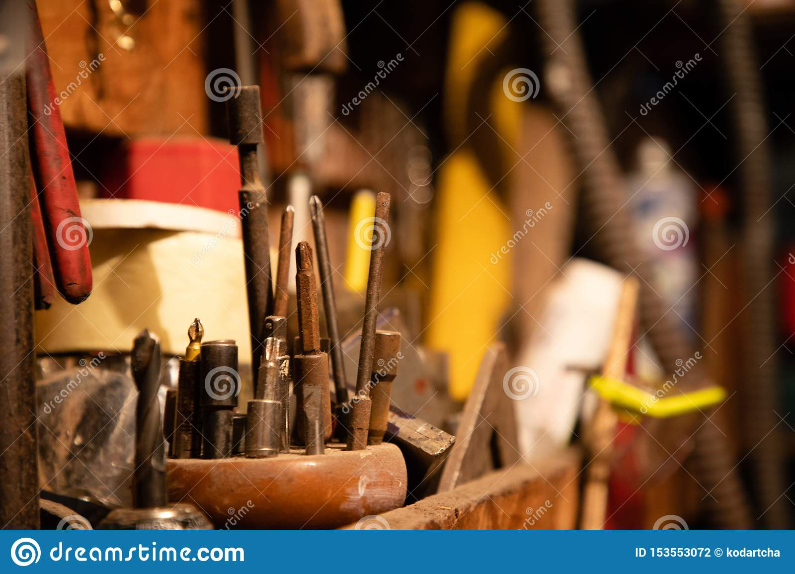 Different screwdrivers and other tools on garage