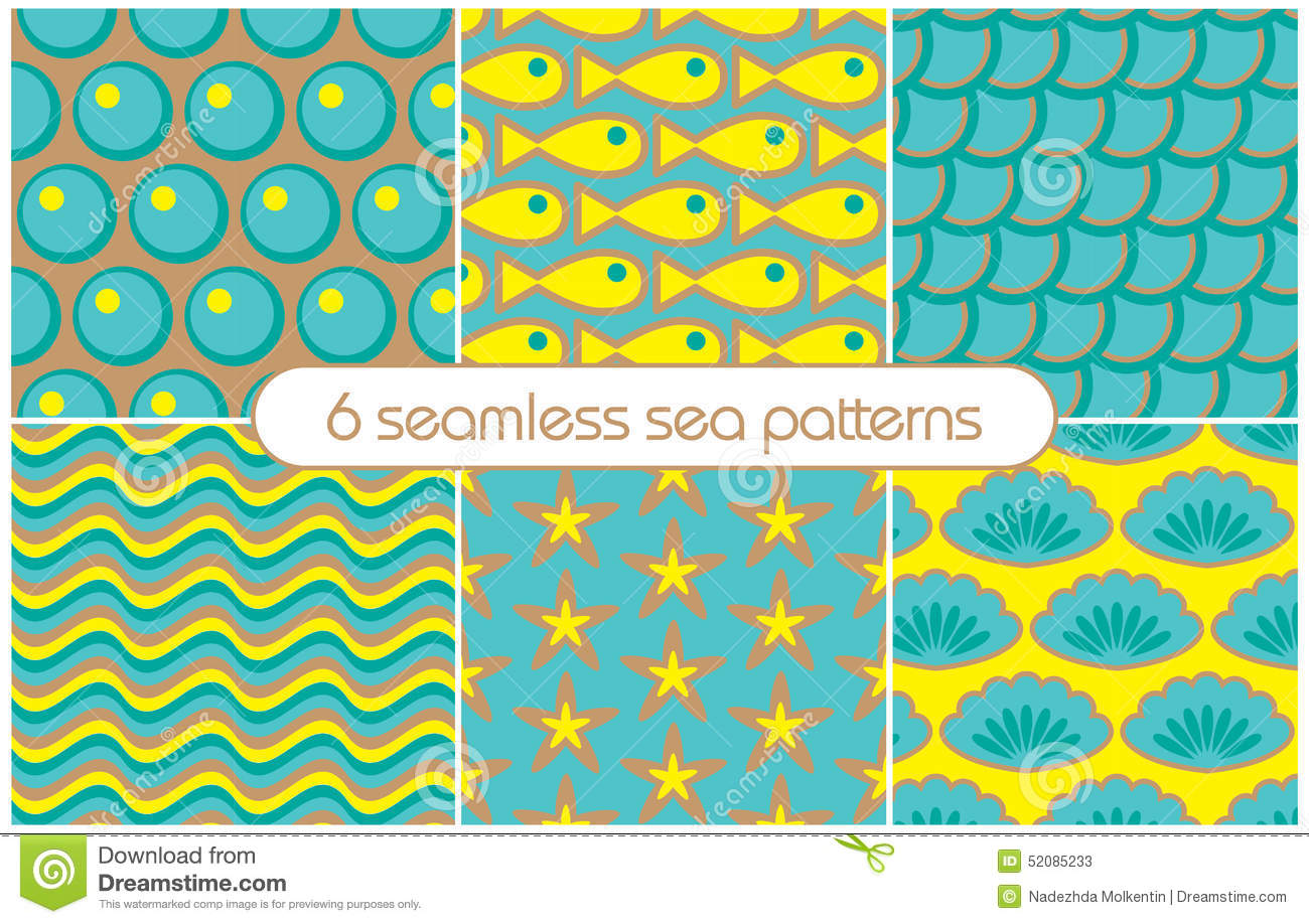 Different Seamless Sea Patterns tiling Vector Illustration Stock
