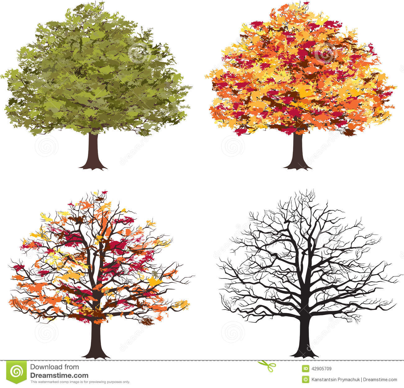 different seasons of art tree vector stock vector image. Black Bedroom Furniture Sets. Home Design Ideas