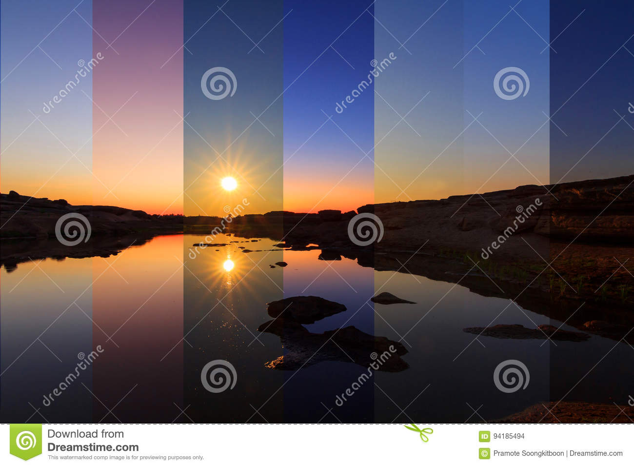 Different Shade Color At The Lake In Different Time Stock Photo ...