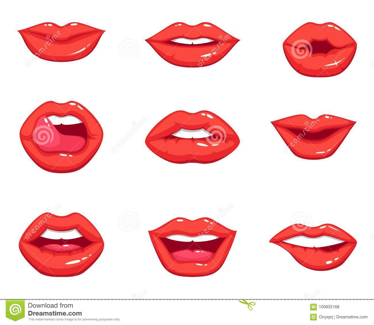 Different Makeups Of Kiss: Different Shapes Of Female Red Lips. Vector Illustrations