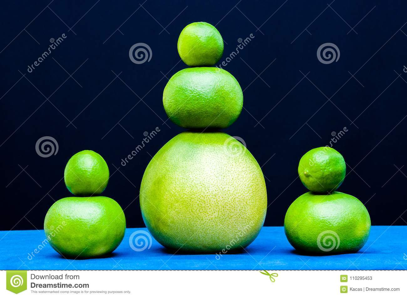 Different shapes sets from green citruses fruits. Limes, pomelo, grapefruits.