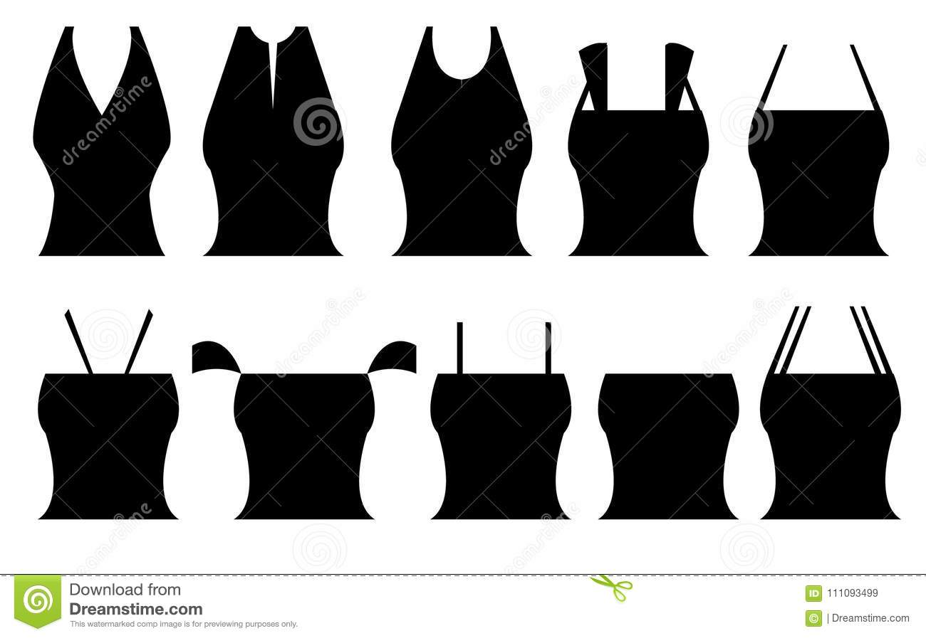 Different Shapes Of Women`s Tops Stock Illustration