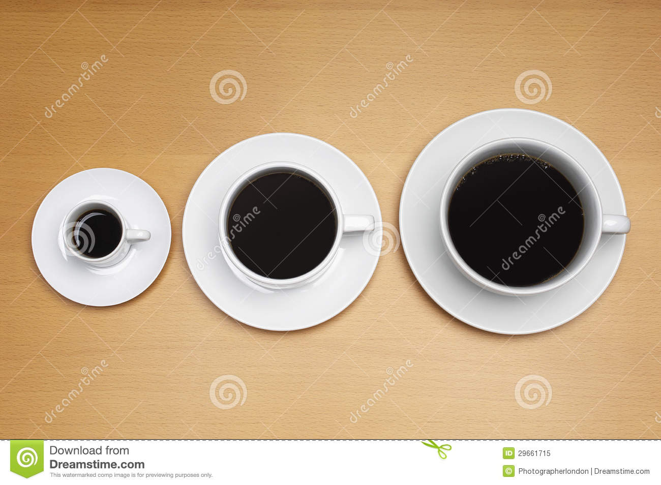 Different Sizes Of Coffee Cups Royalty Free Stock Photo