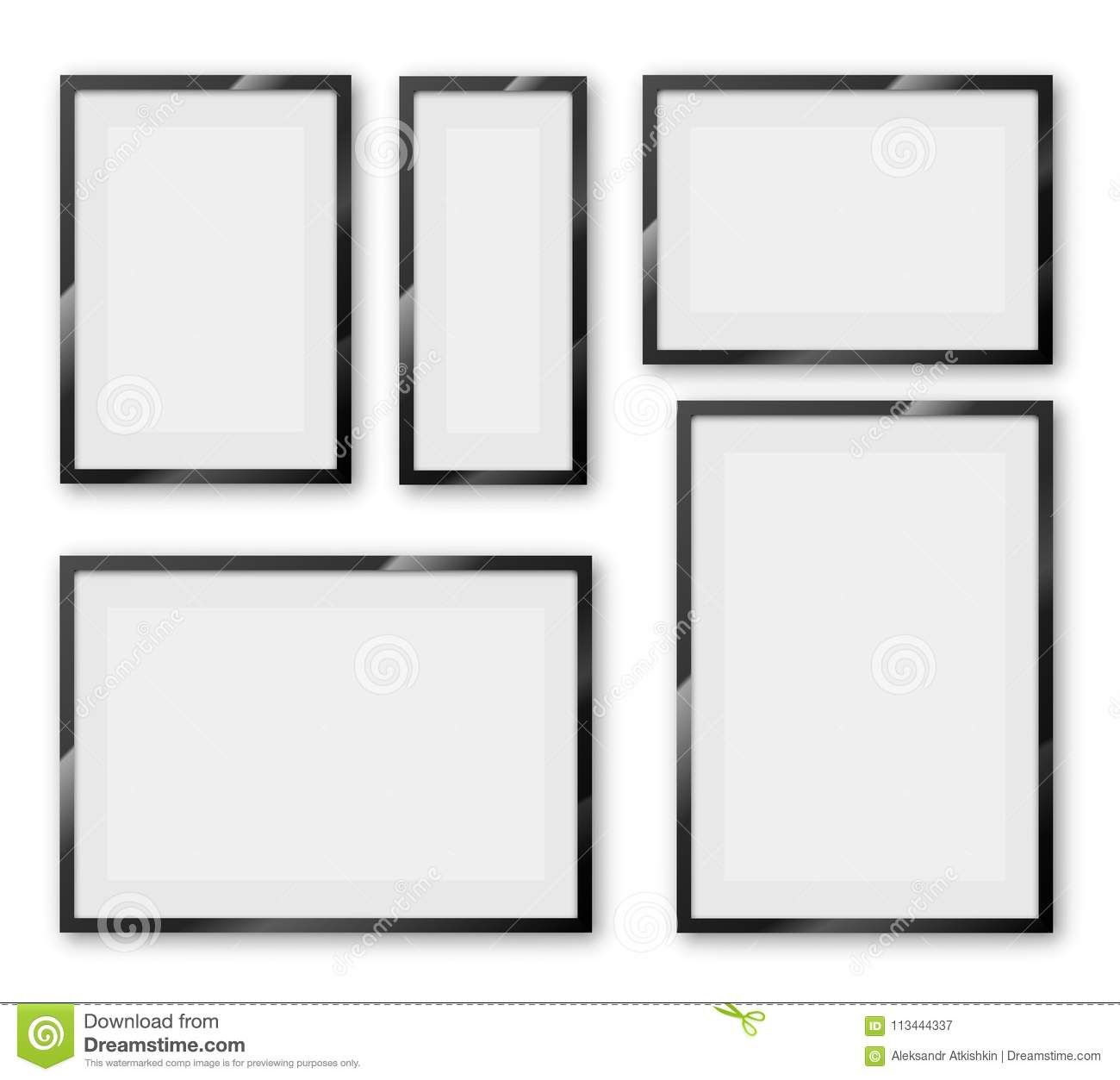 Frames set stock vector. Illustration of glossy, creativity - 113444337