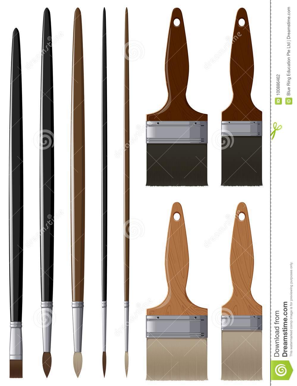 Different Sizes And Types Of Paintbrushes Stock Vector
