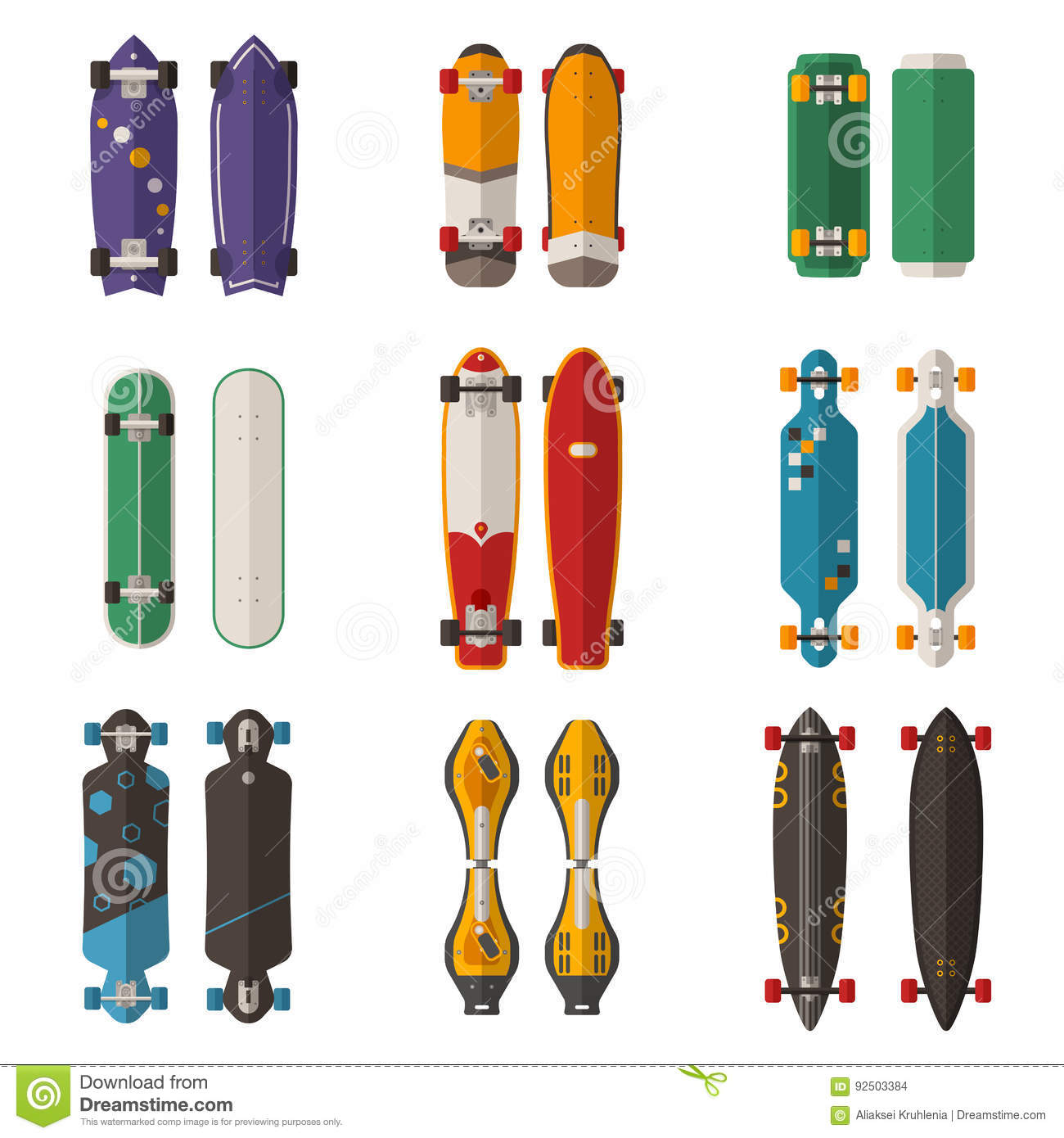 Different Skateboards Set Stock Vector - Image: 92503384