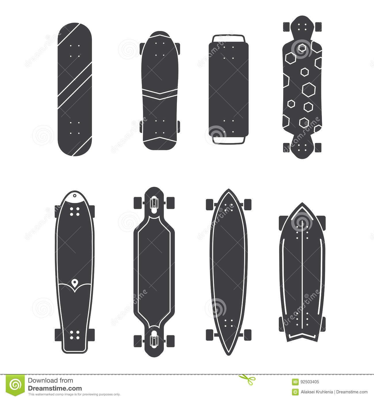 Different Skateboards Set Stock Vector - Image: 92503405