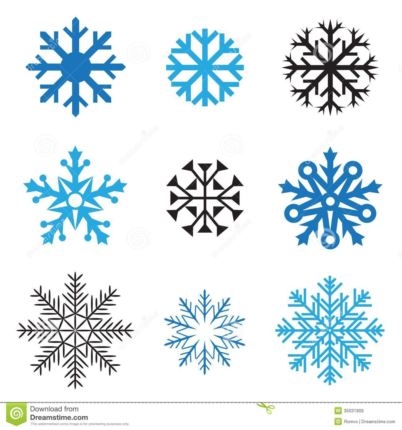 Different Snowflakes Stock Vector Image Of Macro Large