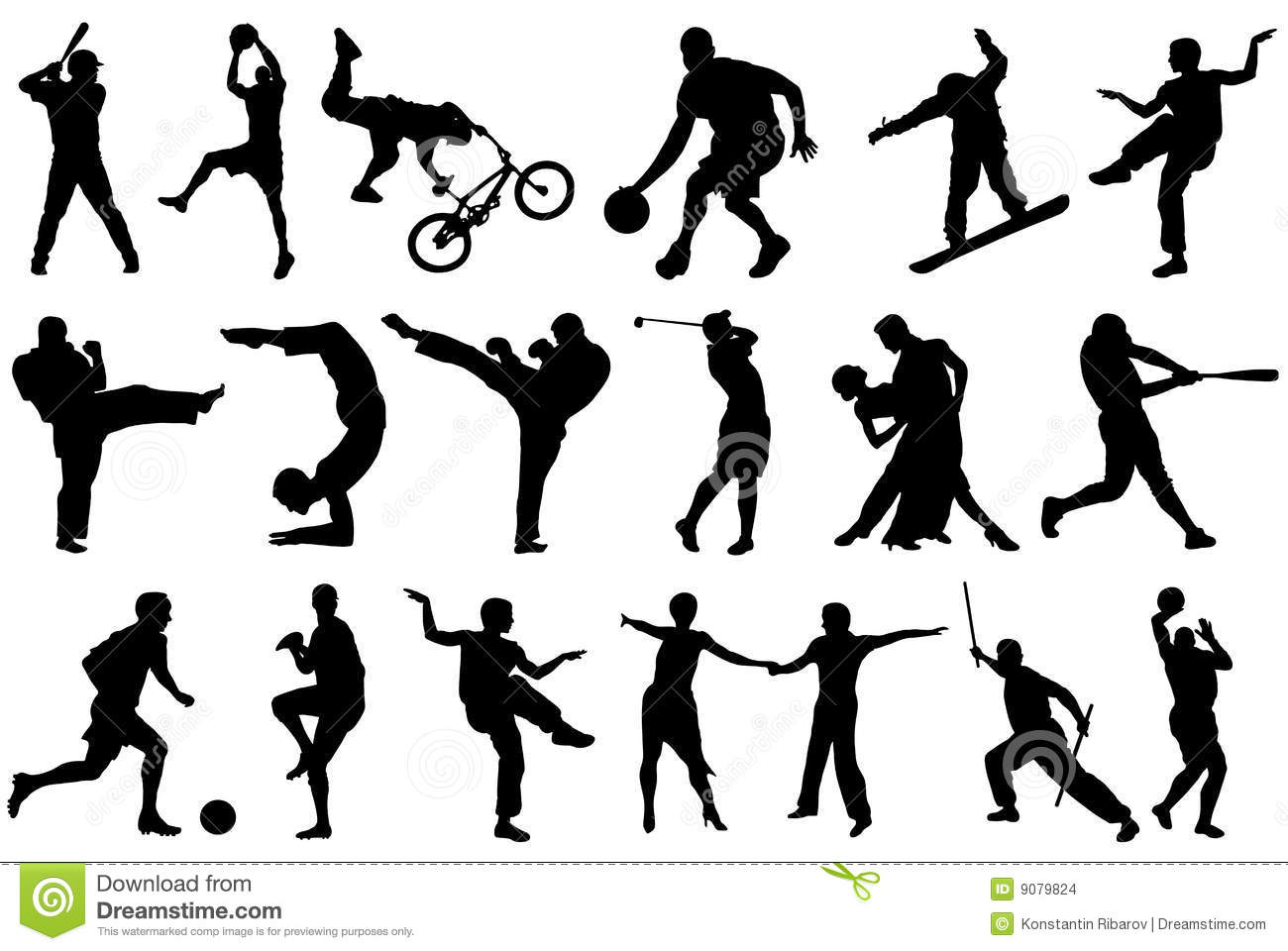 Different balck sport silhouettes on white background