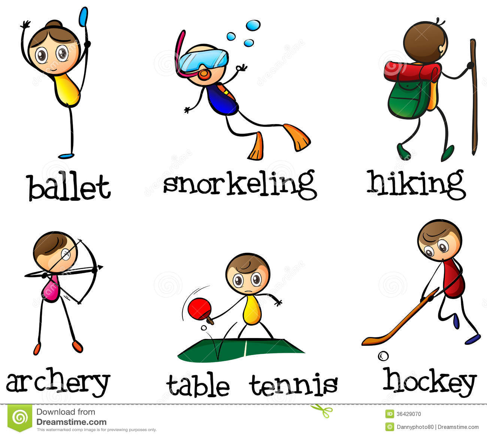 Different sports activity stock illustration. Illustration ...