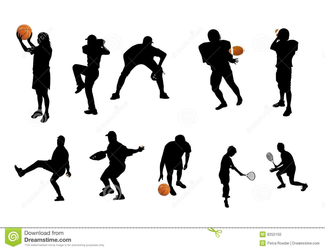 Different Sports Silhouettes Stock Illustration - Image ...