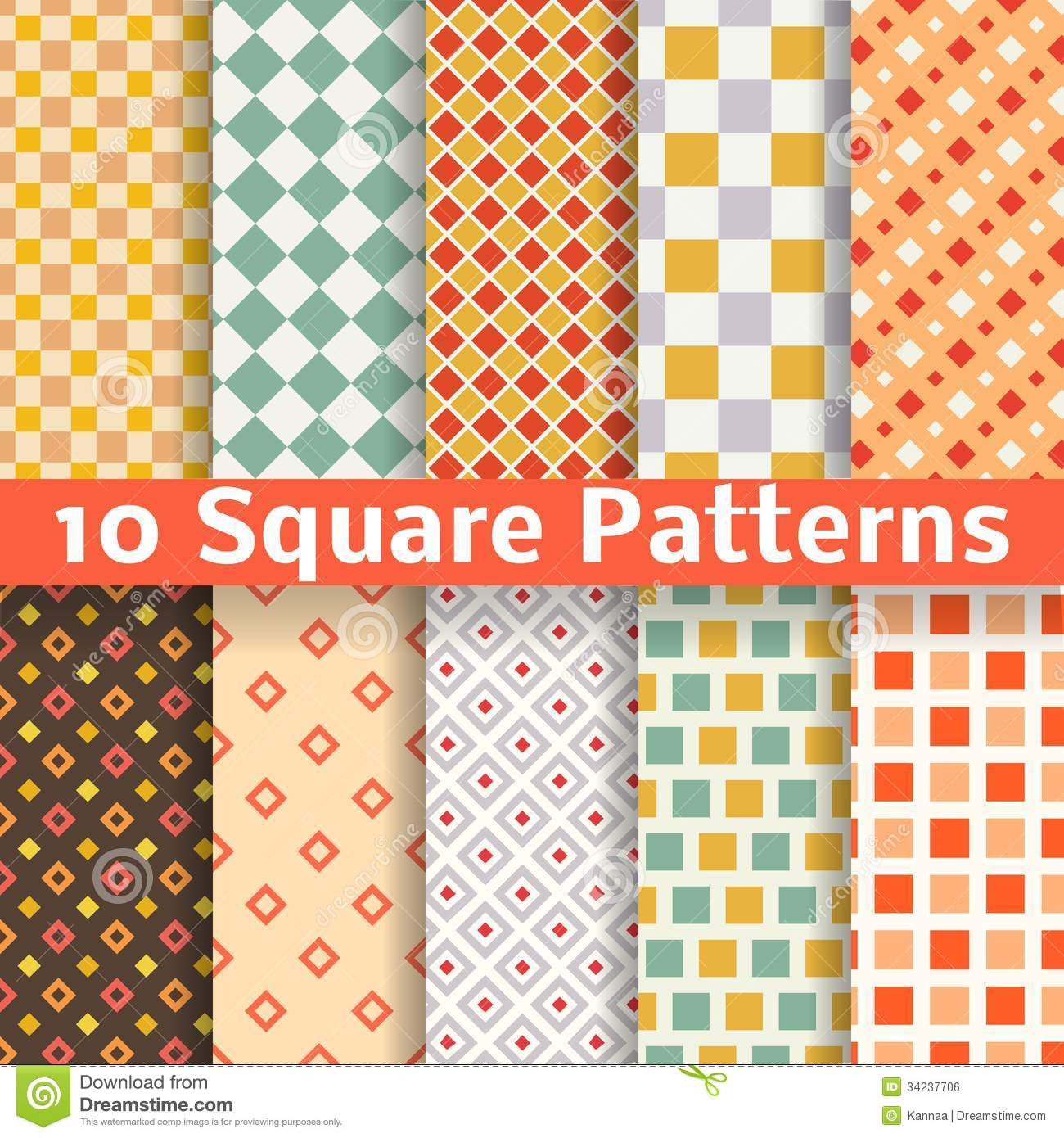 different square vector seamless patterns stock vector
