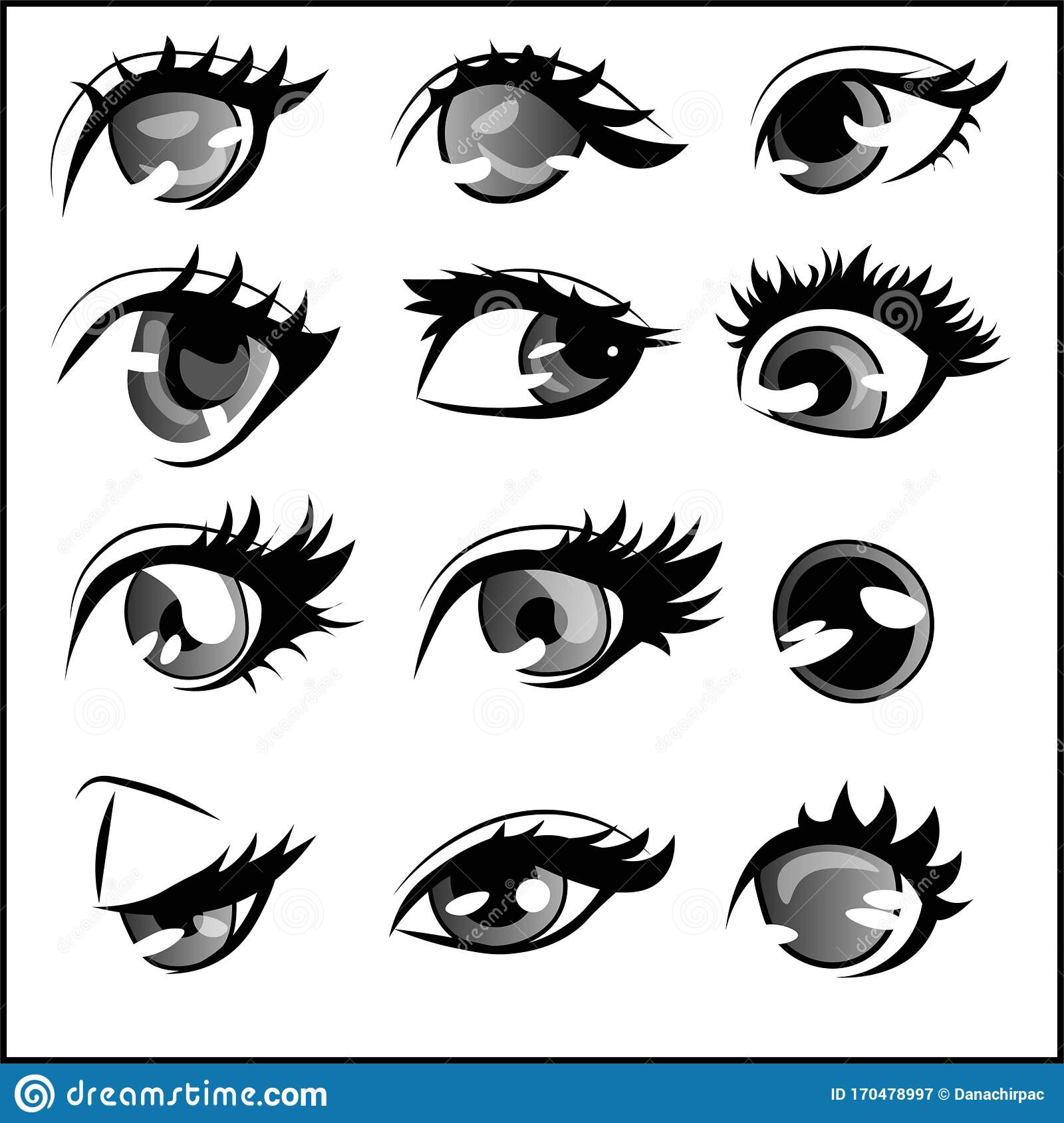 Different Styles And Shapes Of Anime Eyes Element Pack Set Of Twelve Ocular Drawings Stock Vector Illustration Of Black Drawings 170478997
