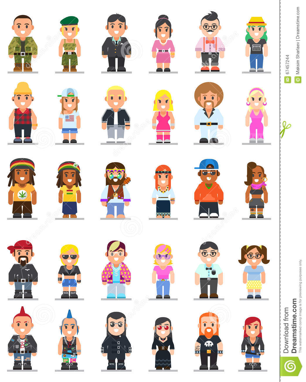 different subcultures man and woman in flat style stock