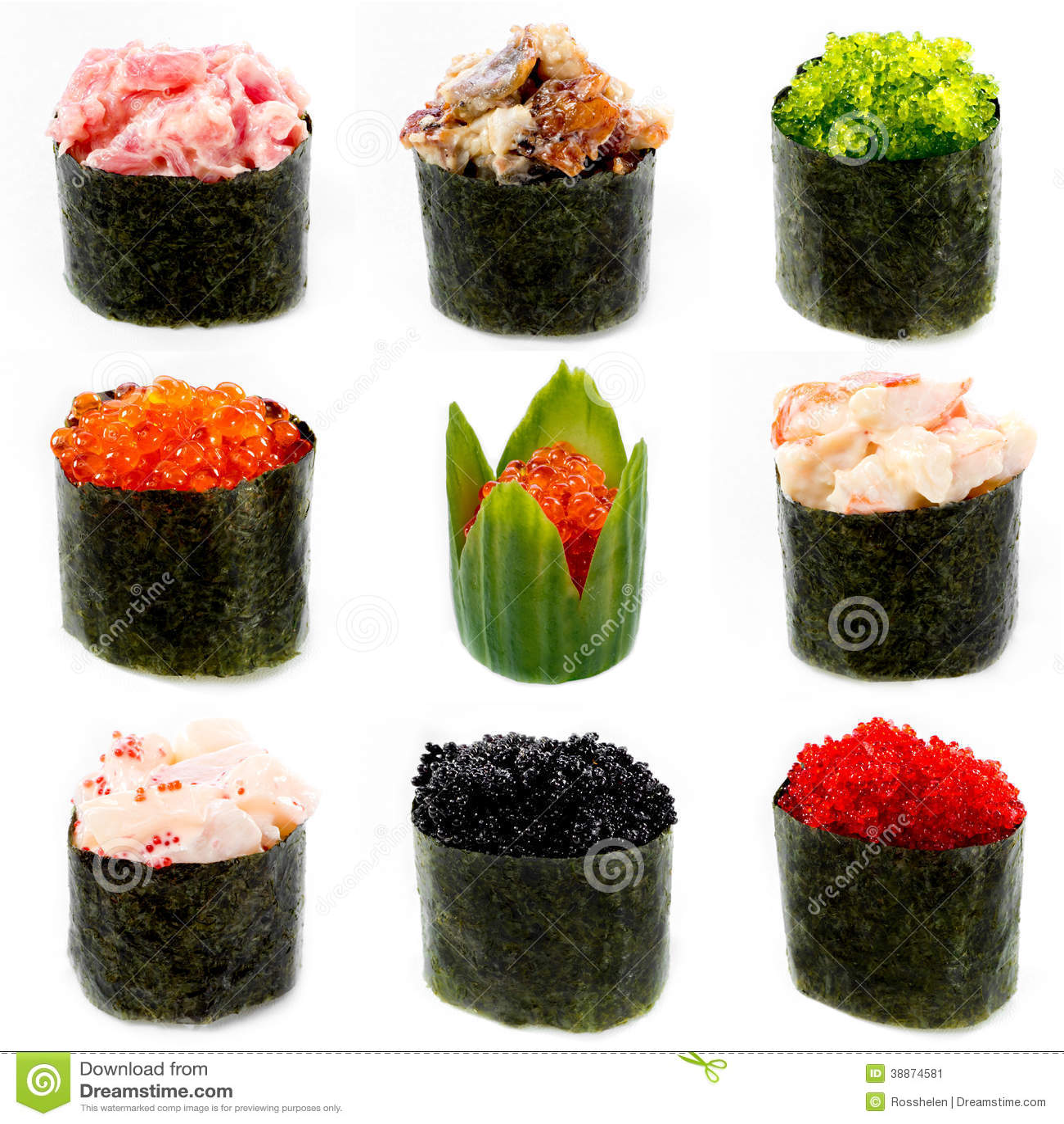 Different Sushi, Smelt , Flying Fish Roe, Stock Photo - Image ...