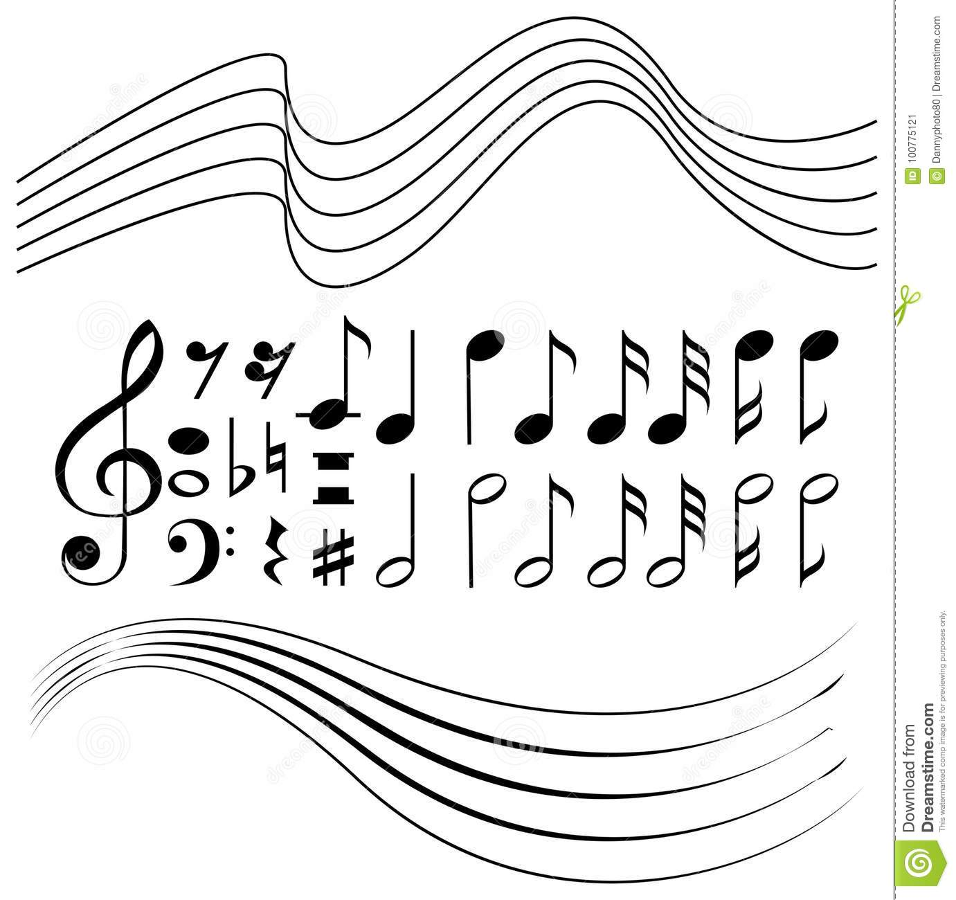 Different Symbols Of Music Notes And Line Paper Stock Vector