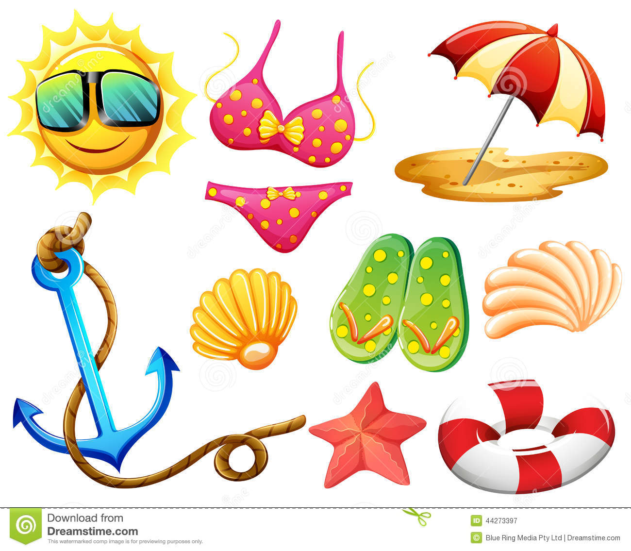 Different Things Used During Summer Stock Vector - Image ...