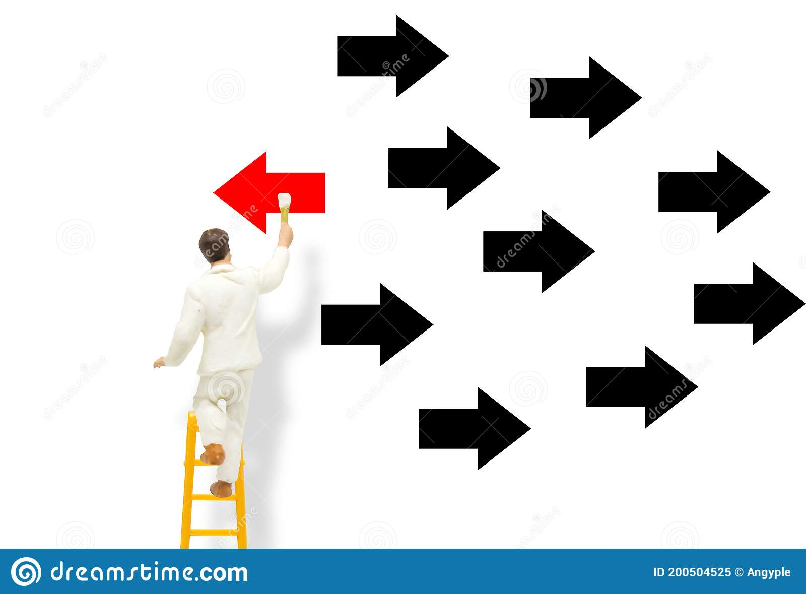 Miniature People Figure Model As Painter Stand On Ladder And Painting Red Arrow Facing Opposite Direction Black Arrows Stock Image Image Of Business Drawing 200504525 I need to draw an arrow, preferably using pseudo (:after or :before) elements. dreamstime com