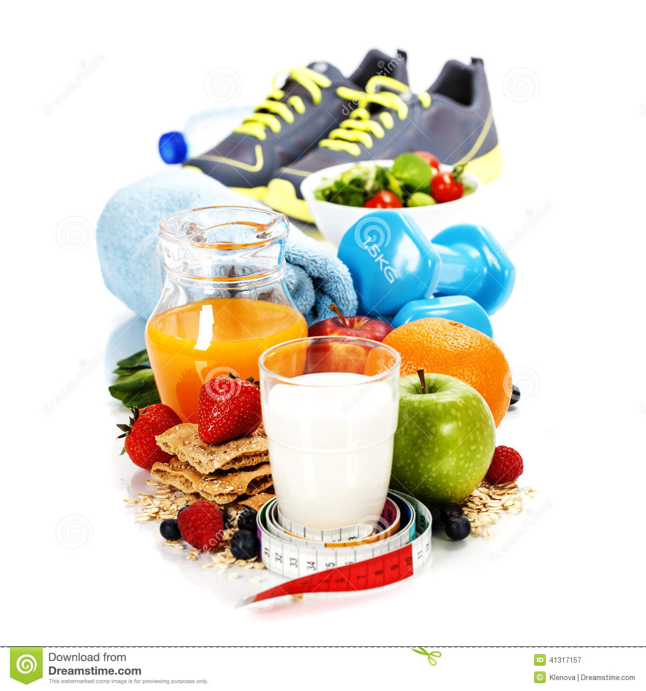 Different tools for sport and healthy food stock photo image 41317157 - Cuisine soort ...
