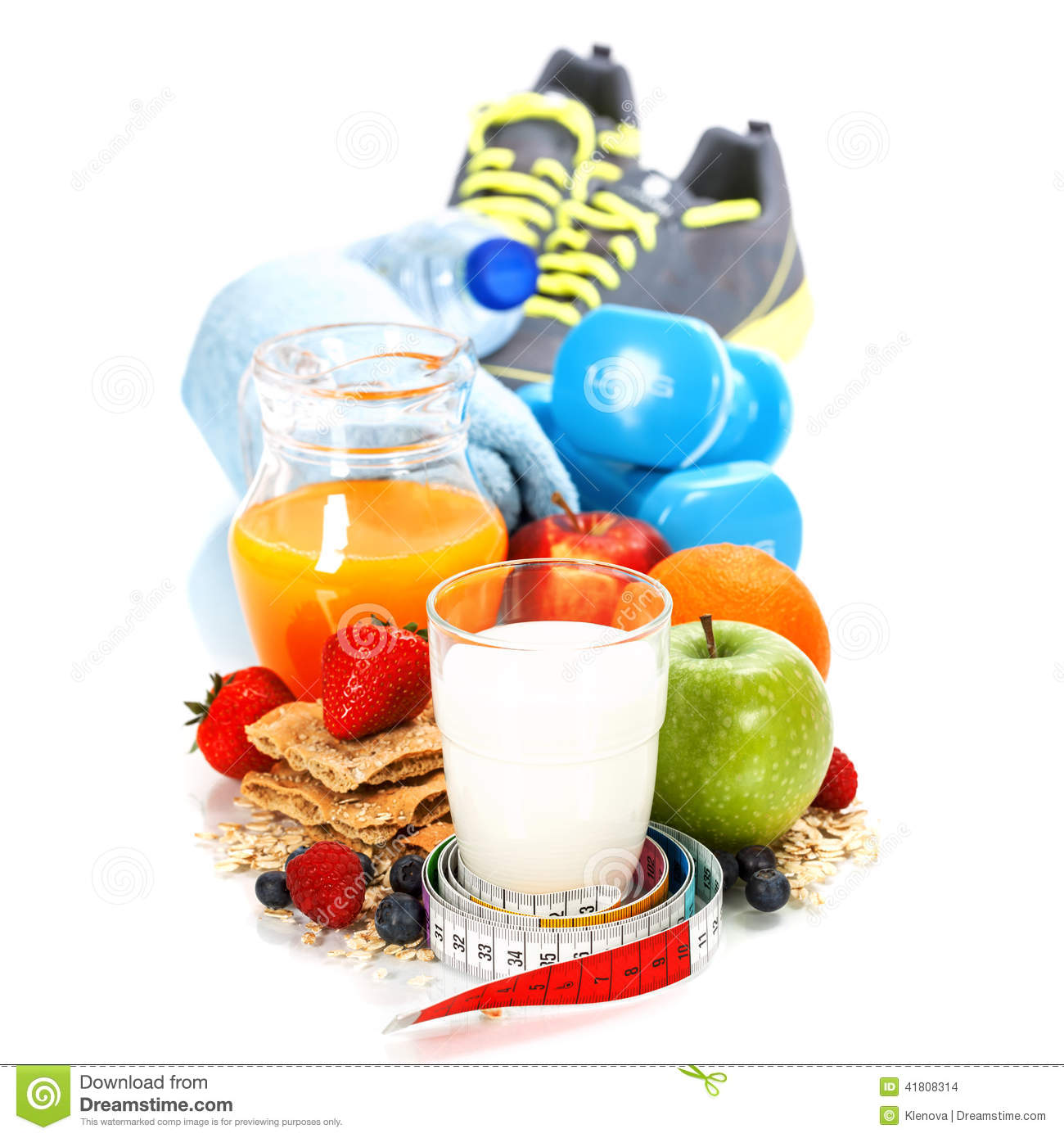 Different Tools For Sport And Healthy Food Stock Photo ...