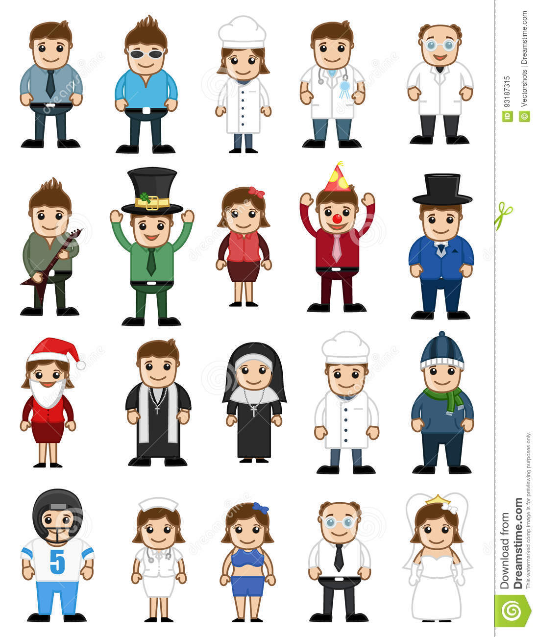 Different Type Cartoon Characters Professions Stock Vector