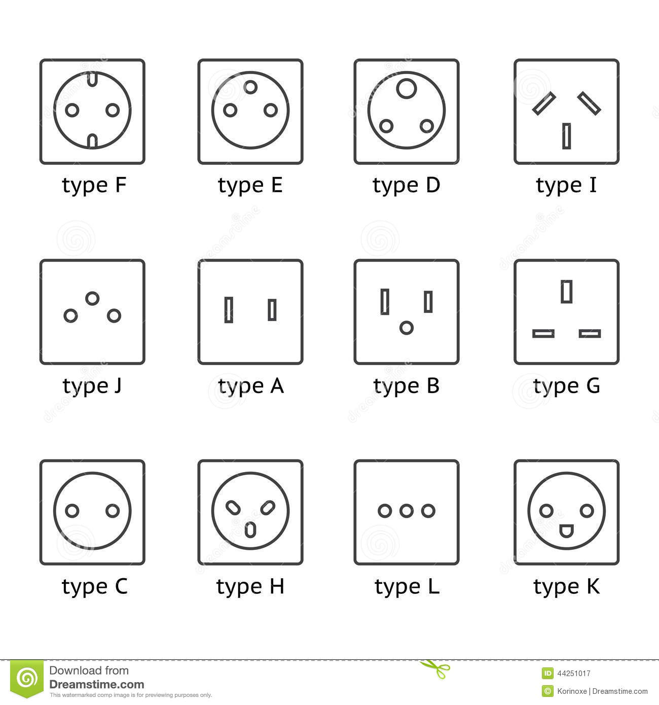 Different Type Power Socket Set Stock Vector